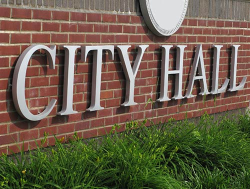 City Hall Decorative Welcome Sign